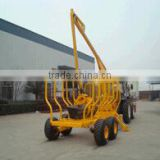 3 tons log trailer with crane/logger crane with CE certificate