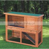 Hot Selling Commercial Wholesale Cheap Double Wooden Rabbit Cage Breeding With Plastic Tray For Sale, rabbit cage cheap