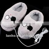 Plush USB Foot Warmer Shoes Electric Heat Slipper Cute Grey Piggy