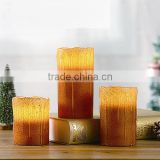 Christmas Decorative Glittering LED Candles Melting Edged Wax Pillar Candles With Dripping Effect