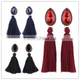 Bohemian jewelry big crystal gems with tassel drop earrings for women