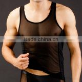 Custom Men's Sey Ultra-thin vest transparent Mesh See-thru tank tops Breathable Sport GYM work out gay