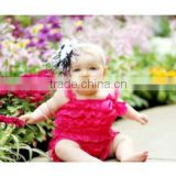 New style!wholesale kids hot pink lace romper for toddlers RO012
