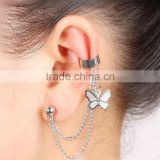 Silver Tone Butterfly Tassel Earrings Cuff Metal Ear Wrap