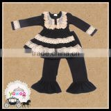yawoo alibaba website wholesale kids clothes black design baby clothes cotton lace long top ruffle pants girls boutique clothing