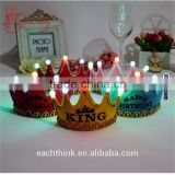 Non-woven Mixed Color King Princess LED Crown Glowing Birthday Party Hat