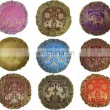 "10pc Indian Silk Brocade Round Pillow Cover 17"" Handmade Banarsi Cushion Cover"