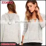 High Quality Latest Design Grey Long Sleeve Woman Top Lace-up Custom Wholesale Lady Hoodie