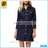 Latest western long sleeve dark blue washed button-up casual denim shift autumn dress design