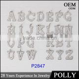 Fashion 925 Sterling Silver 26pcs letter alphabet Initial Bling Bling Pendants
