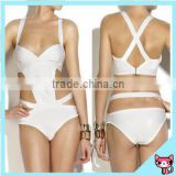 2015 Strappy Bow Bandeau one piece bikinis push up swimwear Christmas gift women bikini swimsuit