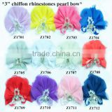 "Wholesale handmade 3"" chiffon fabric rhinestones with pearls bow,chiffon pealrs flower brooches hair bow"