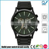 PVD black stainless steel case green dial date frame water proof with black stainless steel strap watch