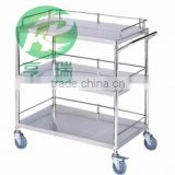 3-tier stainless steel trolley carts for hospital