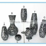 Crackle black color mosaic flower large glass vase for home decor                                                                                                         Supplier's Choice