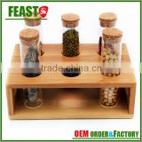 2015 new design spice rack novelty kitchen wooden spice rack glass bottle disply rack