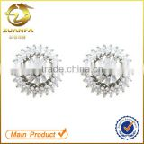 women rhodium plated white zirconia crystal stud earrings                                                                                                         Supplier's Choice