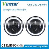 7'' 7 inch car accessory jeep wrangler angle eye headlight, round car auto led light halo ring led motorcycle headlight