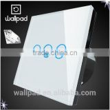 Best Products Wallpad Modern LED Waterproof White Crystal Glass 110~250V 3 Gang 1way Touch Screen Light Control Wall Switch                                                                         Quality Choice
