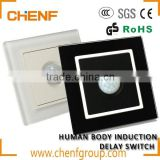 High Quality AC110/220V human body wall switch for light and fan delay time and light sensor adjustable