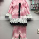 2016 pretty customized girls clothing set pink white stripe top ruffle pant clothing set