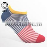 High Quality Wholesale Colorful Yellow Thin Stripe Men Cotton Colored Custom Design Socks Mens Socks Ankle Socks