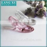LX-D028 crystal glass tableware decoration clear color pink high-heeled shoes shape silver unique wedding souvenir