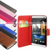 PU leather wallet case cover for htc one m7,colorful leather stand tablet case with credit card for htc one m7