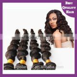 Qingdao supply 6a 16 inches virgin peruvian human hair weave loose wave peruvian hair weave in china