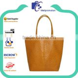 Yellow fake ostrich promotional ladies leather tote bag                                                                         Quality Choice                                                     Most Popular