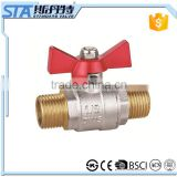 ART.1019 Butterfly T handle male thread forged brass ball valve for water ,oil and gas Italy ball valve CE approved wog 600
