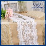 RU001D New 2015 fancy weddding handmade embroidered crochet burlap and lace table runner