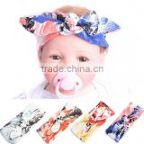 Fashion Infant Baby Flower Turban Rabbit Ear Headband BowKnot Hair band Head Wrap 2016 New Style