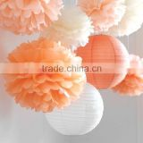 Hanging Decorations Little Bee - 7 Tissue Paper Pom Poms and 3 Paper Lantern - Fast Shipping - Wedding / Baby Shower / Party /