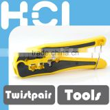 Crimp Tool W/Cable Stripper & Cutter for 4P, 6P (RJ11/RJ12), 8P (RJ45) Plug W/Primary Strain Relief Only