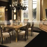 2016 NEW ITEM European Style Beige Color Solid Wood Dining Room Set/Italian Classic Inlay Dining Room Furniture (MOQ=1 SET)