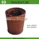 Vietnam brown bamboo waste basket 110032-3