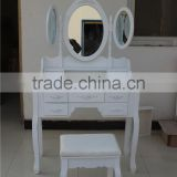 Jasmine Dressing Table Set With Adjustable Oval Mirror And Stool YD-E-1 Knock Down Package 90*40*148cm