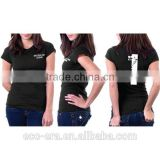 Stock Lot Wholesale Plain T-Shirt Lady Shirt With Water Transfer Printing