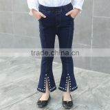 B22646A Autumn pretty girl nail bead flared jeans