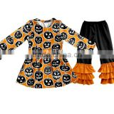Halloween top and pants ruffle outfit for kids pumpkin baby halloween sets kids halloween outfits