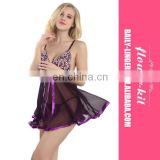 New Fashion Women Sexy Sheer Babydoll Lingerie Mesh Transparent Nightgown