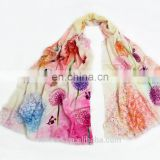 Dandelion pattern winter digital printing women woolen scarves