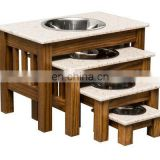 Wooden with Stainless Steel bowls for pets