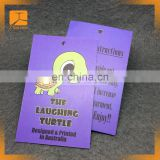 Customiz Garment printed paper hang tag, swing tag with designs, brand, logo for clothing, jeans, jackets, bags