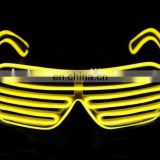 EL glasses El Wire Fashion Neon LED Light Up Shutter Shaped Glow Sun Glasses DJ Bright SunGlasses