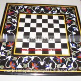 Indian Marble Inlay Chess Design Coffee Table Tops
