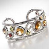 High Quality DY Inspired Sterling Silver Citrine Warm Oval Mosaic Cuff Bracelet