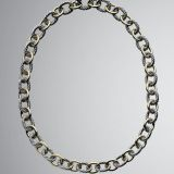 DY Inspired Sterling Silver Gold Two Tone Oval Link Necklace