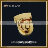 High-end Quality Zinc Alloy Metal Push Lock, Gold Color Plated Push Lock For Lady's Handbags